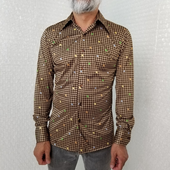 Lucien Piccard Other - Lucien Piccard VTG 70s houndstooth disco shirt